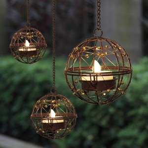 3PK Hanging Solar Tea Light Holders Outdoor