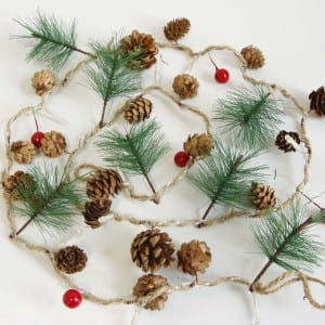 Natural Material Pine Cones Battery Operated LED String Light