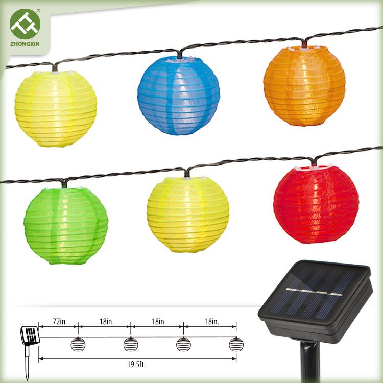 10 LED Multicolor Fabric Solar Lantern String Light Featured Image