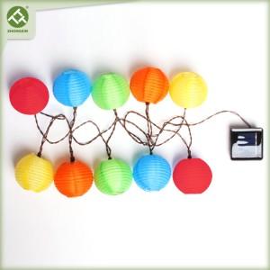 10 LED Multicolor Fabric Solar Lantern String Light