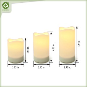 3PK Waterproof Pillar Solar Candles Lights Outdoor